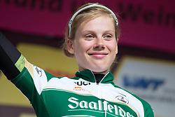 Aafke Soet (NED) of Parkhotel Valkenburg - Destil Cycling Team celebrates winning the most active rider's jersey after Stage 3 of the Lotto Thuringen Ladies Tour - a 124 km road race, starting and finishing in Weimar on July 15, 2017, in Thuringen, Germany. (Photo by Balint Hamvas/Velofocus.com)