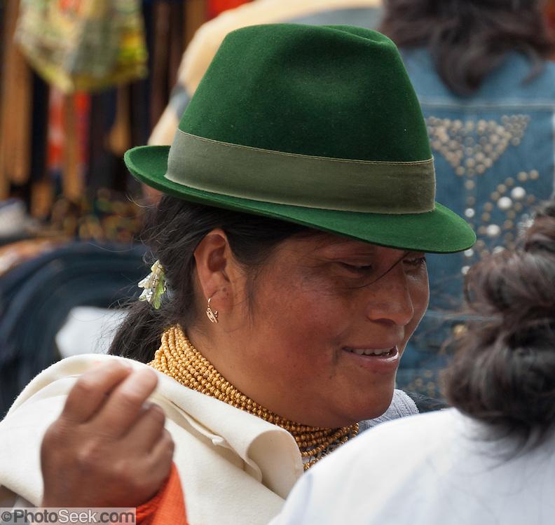 Woman With Green Felt Hat Gold Necklace Otavalo Ecuador