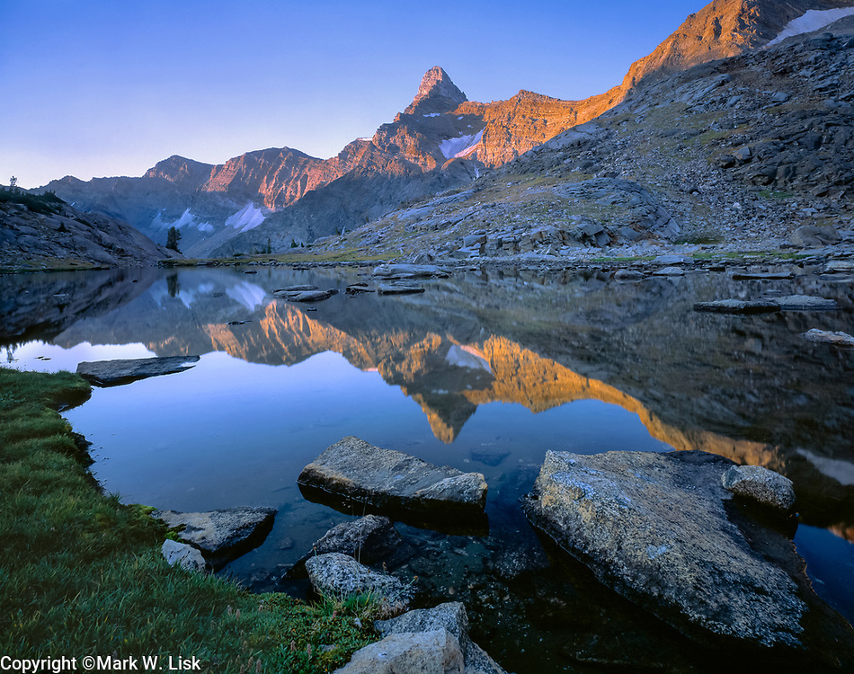 Old Hyneman Peak reflects into the upper Wild Horse Lake in the Pioneer Mountians.