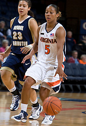 Virginia Cavaliers G Sharnee Zoll (5)..The Virginia Cavaliers women's basketball team fell to the #14 ranked George Washington Colonials 70-68 at the John Paul Jones Arena in Charlottesville, VA on November 12, 2007.
