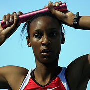 14 June, 2008:  Ohio State's Jenna Griffin ponders her team's 6th place finish after her anchor carry in the women's 4 X 400 meter relay at the NCAA Division 1 Men's and Women's Track & Field Championships in Des Moines, Iowa.
