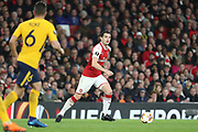 Arsenal midfielder Granit Xhaka (29) dribbling during the Europa League semi final first leg match between Arsenal and Atletico Madrid at the Emirates Stadium, London, England on 26 April 2018. Picture by Matthew Redman.