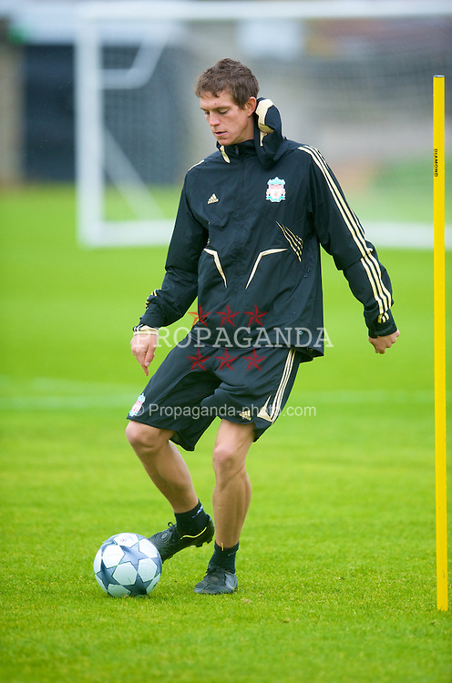 LIVERPOOL, ENGLAND - Tuesday, September 30, 2008: Liverpool's Daniel Agger training at Melwood ahead of the UEFA Champions League Group D match against PSV Eindhoven. (Photo by David Rawcliffe/Propaganda)