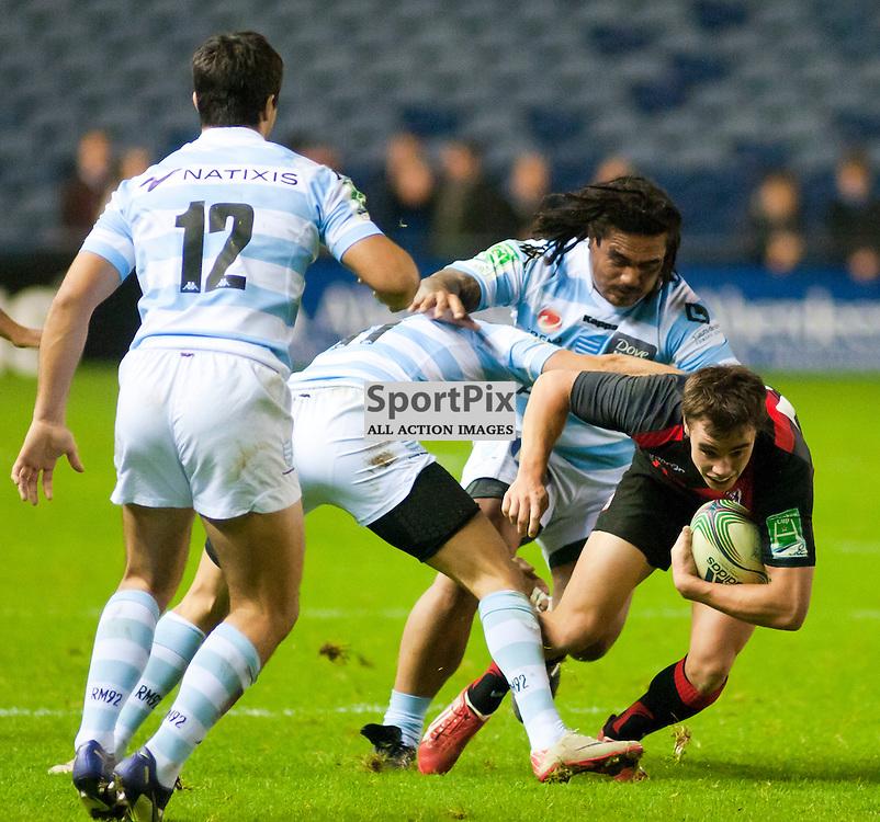 Lee Jones is stopped by Juan Imhoff, Edinburgh Rugby v Racing Metro