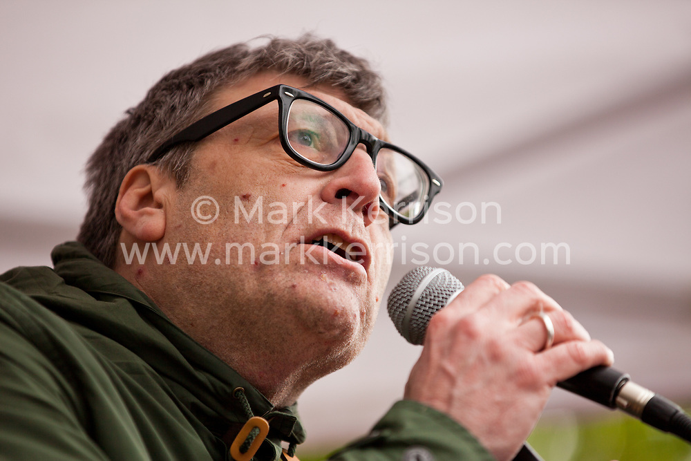 Luton, UK. 5th May, 2012. Martin Smith, National Officer for Unite Against Fascism, addresses the We Are Luton/Stop The EDL rally, organised by We Are Luton and Unite Against Fascism in protest against a march by around 3,000 supporters of the far-right English Defence League.
