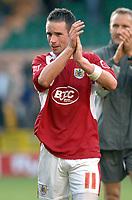 Photo: Ashley Pickering.<br /> Norwich City v Bristol City. Coca Cola Championship. 20/10/2007.<br /> Bristol goal scorer Michael McIndoe thanks the fans at the end of the match
