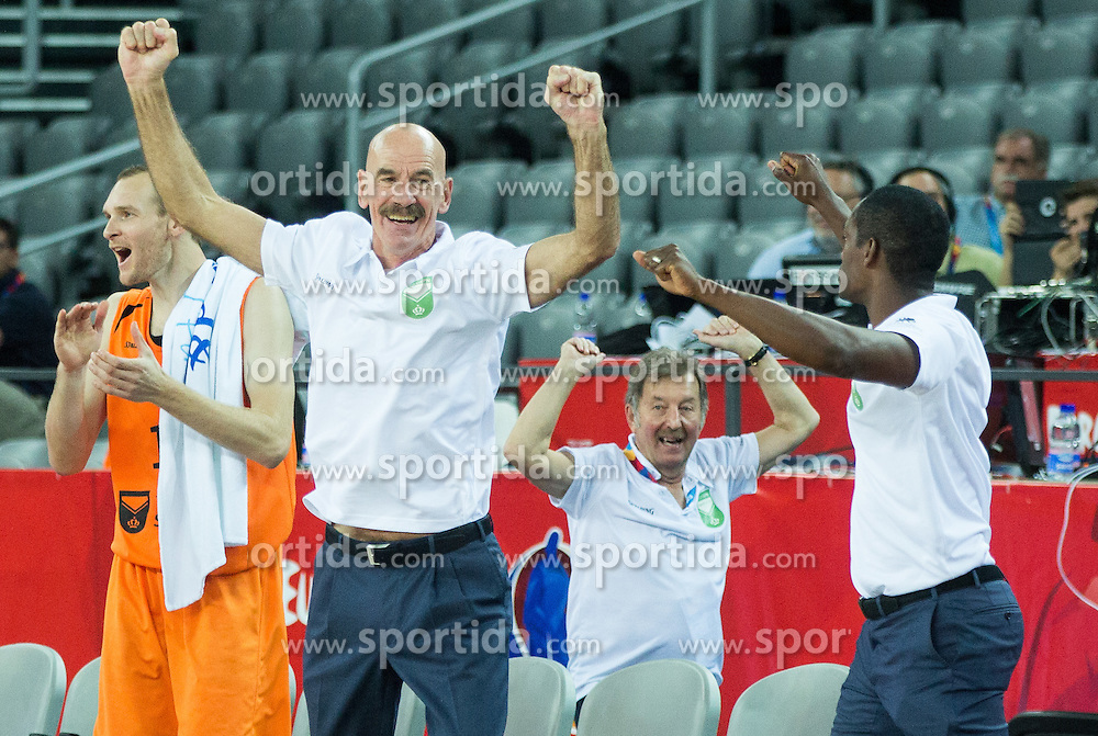 Toon van Helfteren, head coach of Netherlands and players of Netherlands celebrate after winning during basketball match between Georgia and Netherlands at Day 1 in Group C of FIBA Europe Eurobasket 2015, on September 5, 2015, in Arena Zagreb, Croatia. Photo by Vid Ponikvar / Sportida