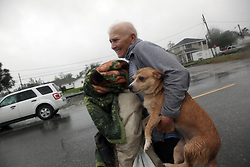 29 August 2012. Braithwaite, Plaquemines Parish, Louisiana,  USA. <br /> Emergency evacuations. Hurricane Isaac batters the community of Braithwaite in Plaquemines Parish where residents were evacuated following the overtopping of a  levee. The water gushed in, inundating peoples houses on the 7th year anniversary of Hurricane Katrina.<br /> Photo; Charlie Varley/varleypix.com
