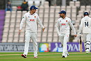 Sir Alastair Cook of Essex talks to Ravi Bopara of Essex during the first day of the Specsavers County Champ Div 1 match between Hampshire County Cricket Club and Essex County Cricket Club at the Ageas Bowl, Southampton, United Kingdom on 5 April 2019.