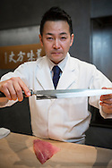 Master chef Keita Tarikino at restaurant Kappou Ukai in Ginza, Tokyo shows his honyaki yanagi knife, also called sashimi knife. This type of knife is used for cutting parts of fish and seafood after it has been prepared with another knife and cointains no bones, scales or shells.