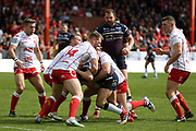 Hull Kingston Rovers back row Danny Tickle (34) and team mates halt a Leeds Rhinos attack during the Betfred Super League match between Hull Kingston Rovers and Leeds Rhinos at the Lightstream Stadium, Hull, United Kingdom on 29 April 2018. Picture by Mick Atkins.