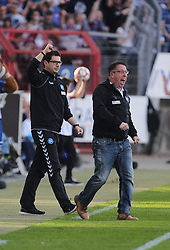 10.04.2015, Wildparkstadion, Karlsruhe, GER, 2. FBL, Karlsruher SC vs FC St. Pauli, 28. Runde, im Bild Michael Kauczinski (Trainer/Karlsruher SC) und Argirios Giannikis (Co-Trainer/Karlsruher SC) bejubeln das 1-0 // during the 2nd German Bundesliga 28th round match between Karlsruher SC and FC St. Pauli at the Wildparkstadion in Karlsruhe, Germany on 2015/04/10. EXPA Pictures © 2015, PhotoCredit: EXPA/ Eibner-Pressefoto/ Bermel<br /> <br /> *****ATTENTION - OUT of GER*****