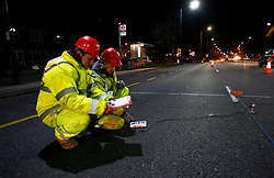 UK ENGLAND LONDON 23NOV10 - Engineers contracted by TfL (Transport for London) measure lighting levels of LED street lighting on a test site on the A40 Western Avenue, Greenford, west London...Light-emitting diode (LED) lamps, combined with smart controls, can cut CO2 emissions 50 to 70%. Lighting accounts for nearly 10% of global CO2 emissions, more than cars worldwide...jre/Photo by Jiri Rezac..© Jiri Rezac 2010