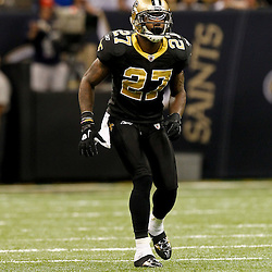 December 4, 2011; New Orleans, LA, USA; New Orleans Saints safety Malcolm Jenkins (27) against the Detroit Lions during a game at the Mercedes-Benz Superdome. The Saints defeated the Lions 31-17. Mandatory Credit: Derick E. Hingle-US PRESSWIRE