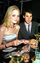 LADY ELOISE ANSON daughter of Lord Lichfield and MR WILLIAM VAN CUTSEM, at a party in London on 8th November 1999.MYT 67