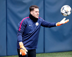 Manchester City goalkeeper Ederson during the training session at the CFA, Manchester.