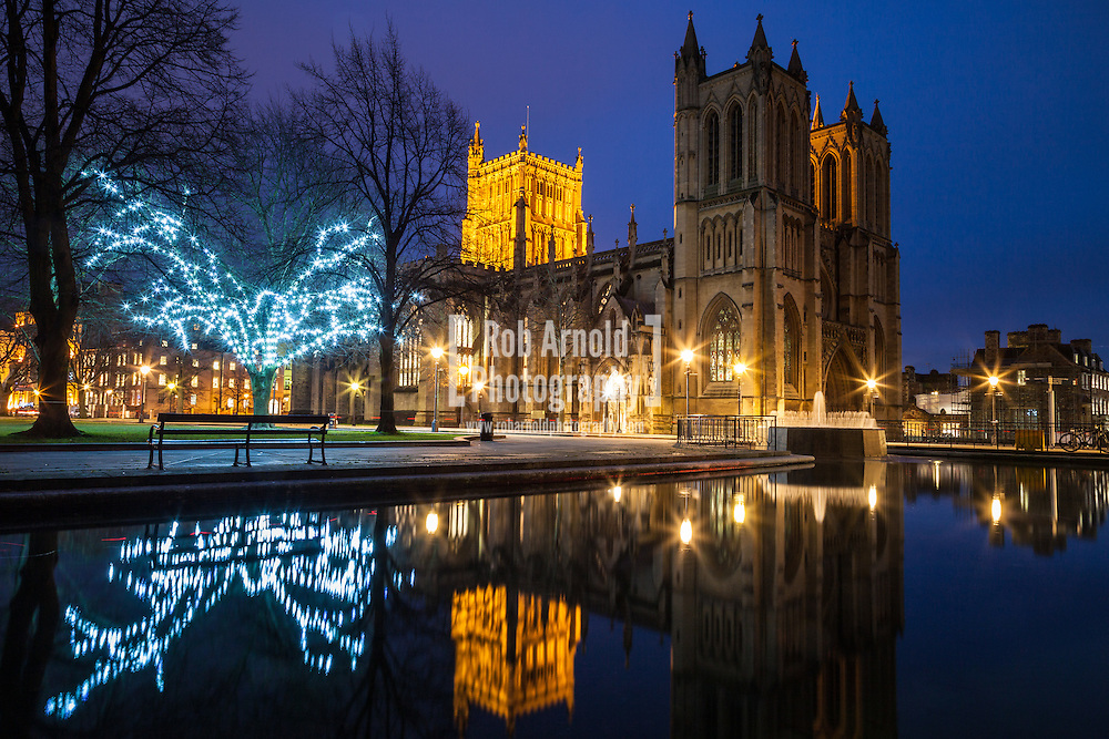 Bristol Cathedral and College Green at dusk
