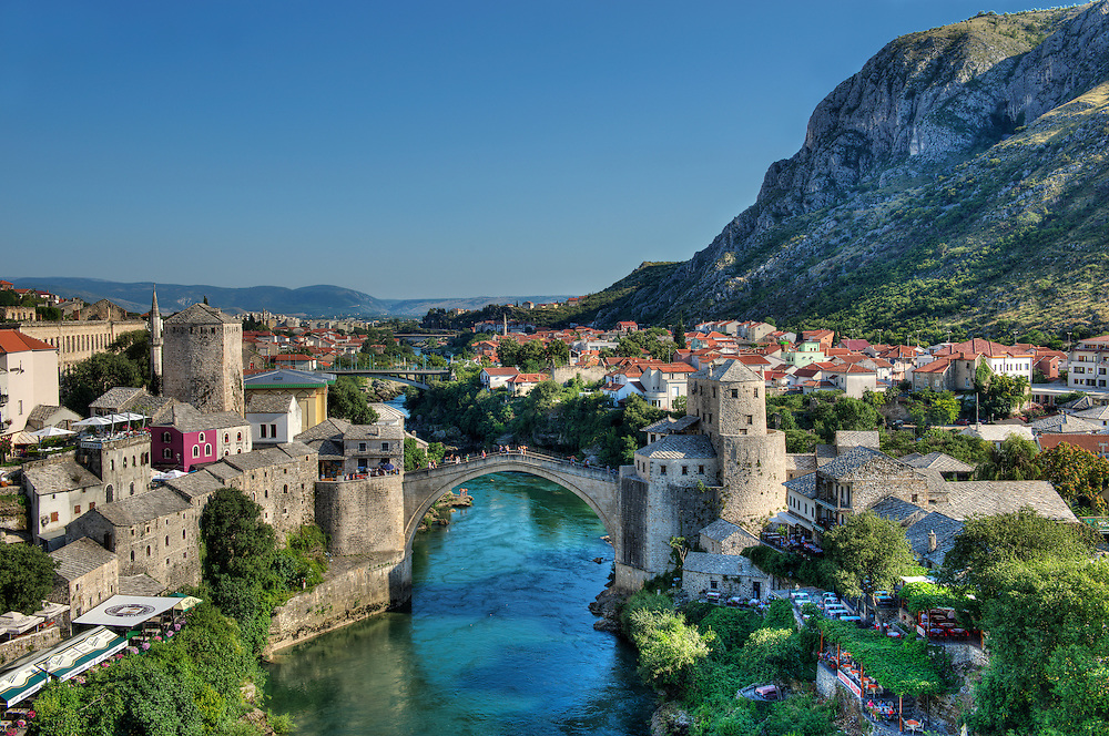 The Neretva River, spanned by the elegant Stari Most, divides Muslim Mostar from the Christian side