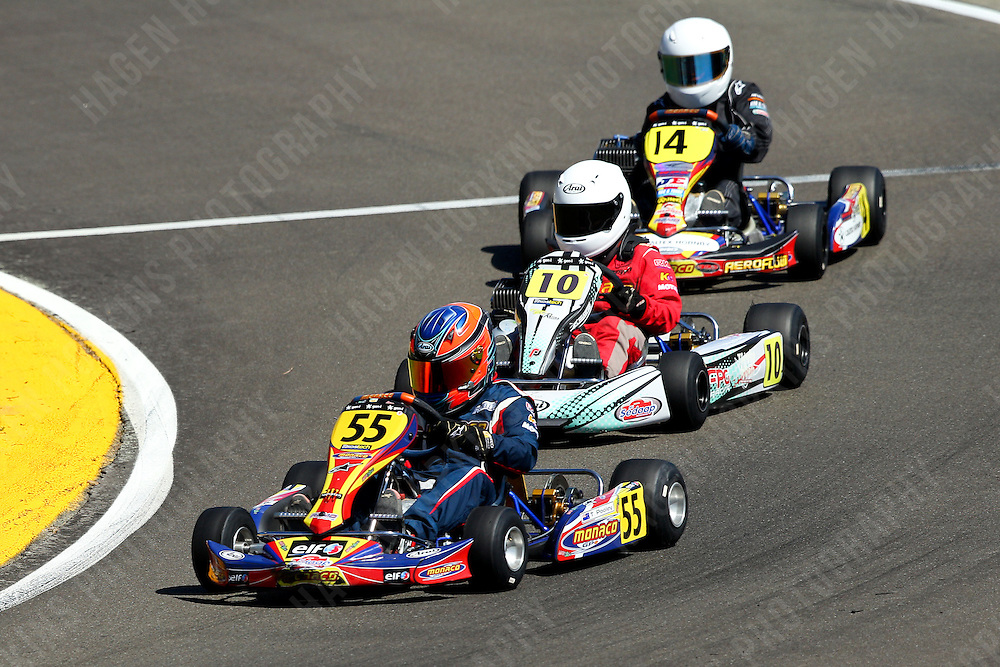 Thomas Pooley, 55, Trey Nairn, 10, Jai Buckley, 14, 2012 Twilight Trans-Tasman Challenge at Manawatu Kart Club in Palmerston North, New Zealand on Saturday, 18 January 2012. Credit: Hagen Hopkins.
