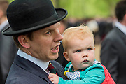 A young recruit - The Combined Cavalry OCA Parade, Hyde Park. More than two thousand cavalrymen march in a mixture of uniforms or suits with bowler hats and furled umbrellas creating a quintessentially British scene. It is the 93rd Annual Parade and Service of The Combined Cavalry Old Comrades Association at the Cavalry Memorial adjacent and the Bandstand in Hyde Park. Field Marshal Baron Guthrie GCB, LVO, OBE, DL Colonel The Life Guards and Gold Stick took the salute at the march past for both serving and former soldiers of all the Regiments of Regular Cavalry and many Yeomanry Regiments.