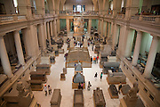 Visitors view artifacts  the Egyptian Museum in Cairo, Egypt.