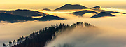Layer of clouds in the mountain gorge at winter morning