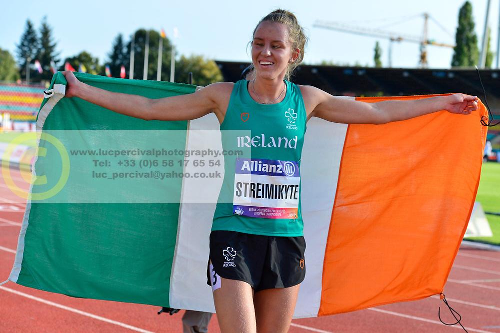 Greta Streimikyte, IRE celebrating winning the T13, 1500m at the Berlin 2018 World Para Athletics European Championships