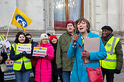 Frances O'Grady, General Secretary of the TUC joins workers of Interserve, the cleaning contractors for the Foreign and Commonwealth Office FCO who are striking for better working conditions and union recognition on the 11th of February 2020 in Westminster, London, United Kingdom.  (photo by Andy Aitchison / PCS)