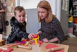 Pictured: Jordan was keen to show Shirley-Ann Somerville how he made a heart<br />