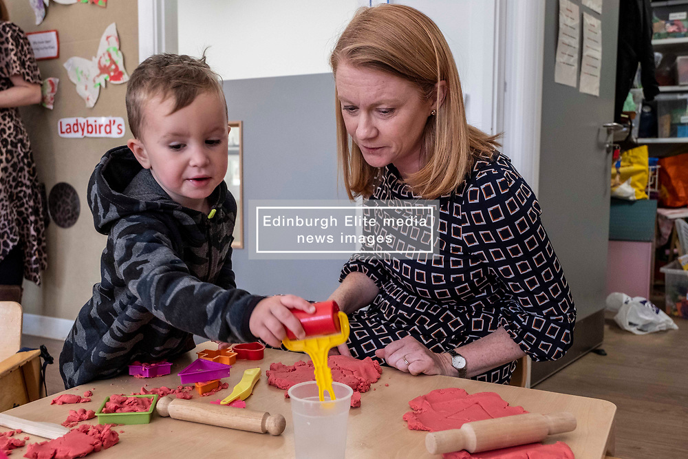 Pictured: Jordan was keen to show Shirley-Ann Somerville how he made a heart<br /> <br /> Today Shirley-Ann Somerville MSP, Cabinet Secretary for Social Security, visited Stepping Stones inn Edinburgh and met parents who may be eligible for the Scottish Child payment, which is a new GBP10-a-week payment for every child aged up to six as part of measures to lift 30,000 children out of poverty.<br /> <br /> Ger Harley | EEm 4 September 2019