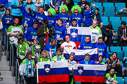 The fans of Slovenia prior to ice hockey match between Slovenia and Kazakhstan at IIHF World Championship DIV. I Group A Kazakhstan 2019, on April 29, 2019 in Barys Arena, Nur-Sultan, Kazakhstan. Photo by Matic Klansek Velej / Sportida