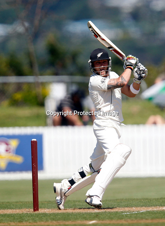 NZ XI's Brendon McCullum sends the ball to the boundry for another 4. International Cricket, New Zealand XI v Pakistan, Cobham Oval Whangarei, Sunday 2nd January 2011. Photo: Shane Wenzlick / www.photosport.co.nz