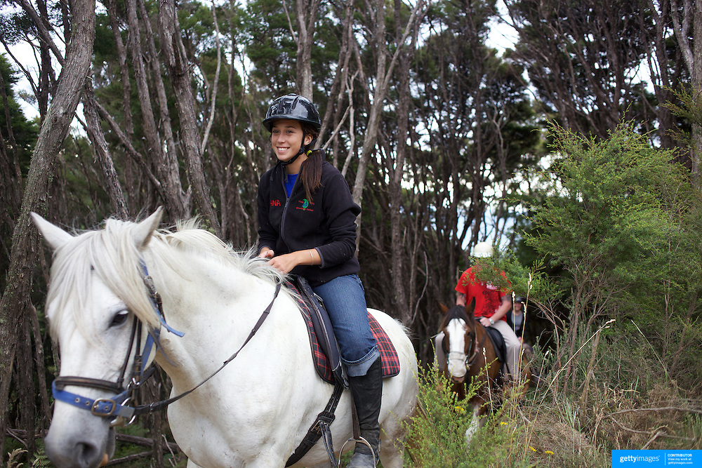 People enjoying a horse ride around the countryside at Happy Valley Adventures, Cable Bay Rd. Nelson New Zealand, 30th January  2011, Photo Tim Clayton