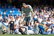 Everton (9) Sandro Ramírez, Everton (10)Wayne Rooney during the Premier League match between Chelsea and Everton at Stamford Bridge, London, England on 27 August 2017. Photo by Sebastian Frej.
