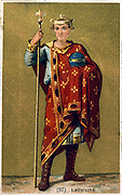 Lothaire (941-986)  King of France from 954, shown wearing a crown and holding an orb and scpetre. Late 19th century chromolithograph.