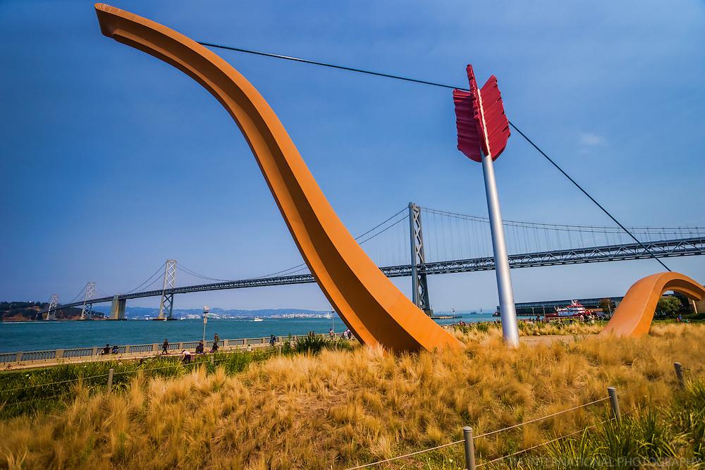 """Cupid's Span"" Sculpture & Bay Bridge, Embarcadero"