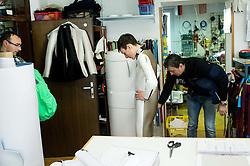 Ski jumper Domen Prevc of Slovenia with custom made Ski Jumping suit, Dare Svetina and coach Gorazd Bertoncelj at Dali sport d.o.o., on December 6, 2016 in Lesce, Slovenia. Photo by Vid Ponikvar / Sportida