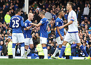 Steven Naismith of Everton celebrates with Phil Jagielka after his teams 3-1 win against Chelsea after the Barclays Premier League match at Goodison Park, Liverpool.<br /> Picture by Michael Sedgwick/Focus Images Ltd +44 7900 363072<br /> 12/09/2015