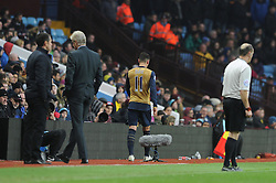 Mesut Ozil of Arsenal walks off the pitch towards the players tunnel after being substituted  - Mandatory byline: Dougie Allward/JMP - 13/12/2015 - Football - Villa Park - Birmingham, England - Aston Villa v Arsenal - Barclays Premier League