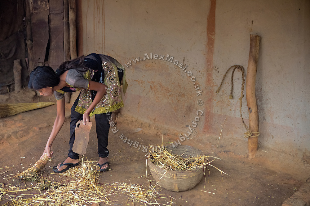 Tabasum Khatun, 14, is collecting some hay to be fed to the family's oxen, while in the courtyard of her home in Algunda village, pop. 1000, Giridih District, rural Jharkhand, India.