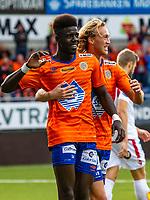 1. divisjon fotball 2018: Aalesund - Levanger (4-0). Aalesunds Pape Habib Gueye (t.v.) og Jørgen Hatlehol feirer 4-0 i kampen i 1. divisjon i fotball mellom Aalesund og Levanger på Color Line Stadion.