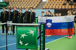 Team Slovenia during the Day 1 of Davis Cup 2018 Europe/Africa zone Group II between Slovenia and Poland, on February 3, 2018 in Arena Lukna, Maribor, Slovenia. Photo by Vid Ponikvar / Sportida