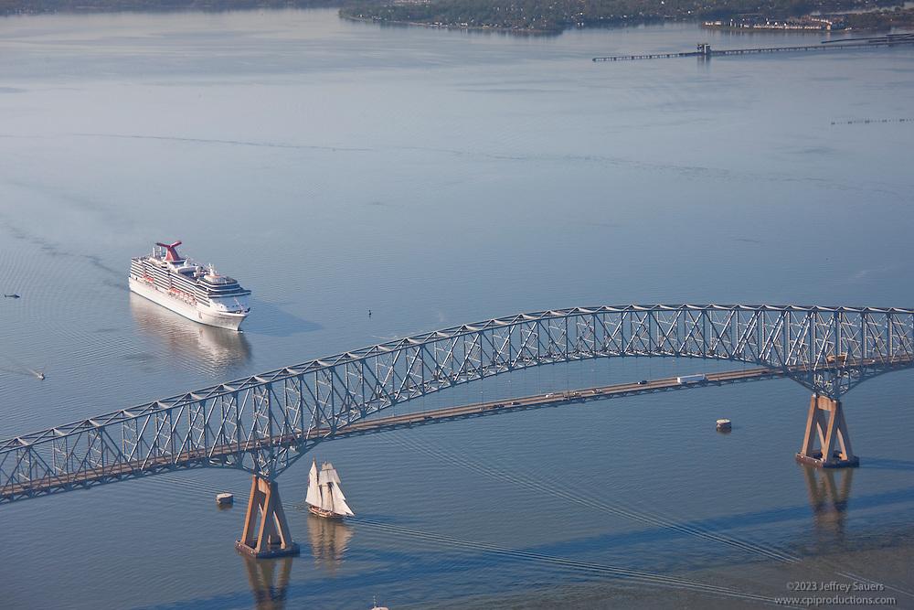 Carnival Cruise Ship at Key Bridge Aerial Photograph