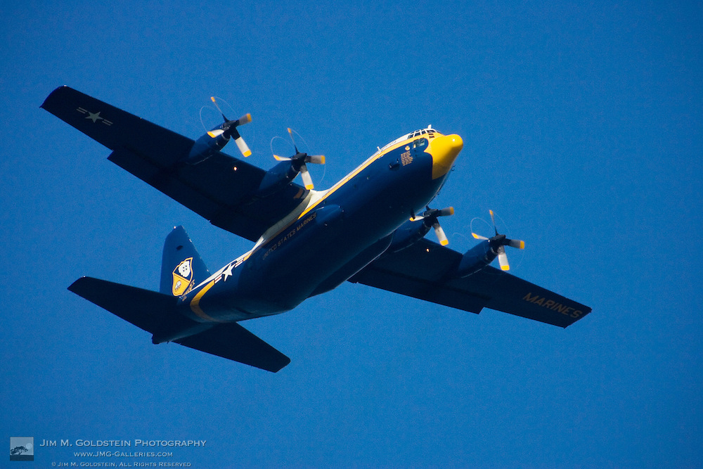 Fat Albert flyby kicks-off the Blue Angels performance at in San Francisco