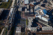 Nederland, Flevoland, Lelystad, 08-09-2009. Stadshart, centrum van de stad met links het station, rechts het stadhuis.Center of the city left the station, city hall right.(toeslag); aerial photo (additional fee required); .foto Siebe Swart / photo Siebe Swart