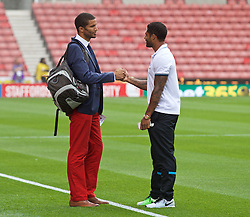 STOKE-ON-TRENT, ENGLAND - Sunday, August 9, 2015: Stoke City's former Liverpool player Glen Johnson with former goalkeeper David James before the Premier League match at the Britannia Stadium. (Pic by David Rawcliffe/Propaganda)