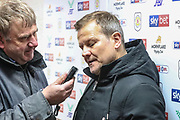 Forest Green Rovers manager, Mark Cooper pre-match interview during the EFL Sky Bet League 2 match between Crewe Alexandra and Forest Green Rovers at Alexandra Stadium, Crewe, England on 27 April 2019.