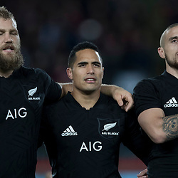 Israel Dagg TJ Perenara Aaron Smith  during game 7 of the British and Irish Lions 2017 Tour of New Zealand, the first Test match between  The All Blacks and British and Irish Lions, Eden Park, Auckland, Saturday 24th June 2017<br /> (Photo by Kevin Booth Steve Haag Sports)<br /> <br /> Images for social media must have consent from Steve Haag