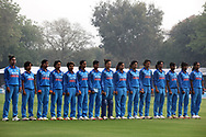 Indain players stand for the national anthem before the start of the third women's one day International ( ODI ) match between India and Australia held at the Reliance Cricket Stadium in Vadodara, India on the 18th March 2018<br /> <br /> Photo by Vipin Pawar / BCCI / SPORTZPICS