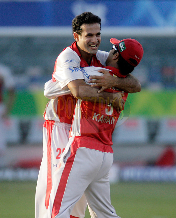 DURBAN, SOUTH AFRICA - 24 April 2009. Irfan Pathan celebrates the wicket of Robin Uthappa with Karan Goel during the IPL Season 2 match between the Royal Challengers Bangalore and the Kings X1 Punjab held at Sahara Stadium Kingsmead, Durban, South Africa..